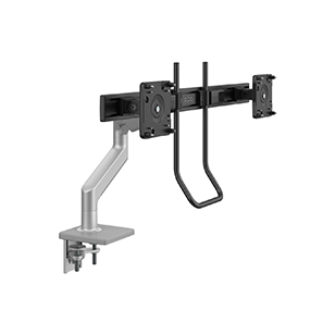 M10 Monitor Arm with Crossbar and Handle, Two Piece Clamp Mount, Silver with Gray Trim