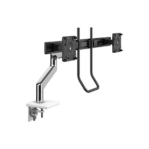 M10 Monitor Arm with Crossbar and Handle, Two Piece Clamp Mount, Polished Aluminum with White Trim