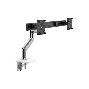 M8.1  Monitor Arm with Crossbar, Two-Piece Clamp Mount Base, Polished Aluminum with White Trim