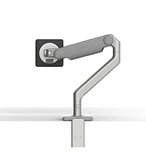 M2.1 Monitor Arm with Two-Piece Clamp Mount Base, Silver with Gray Trim