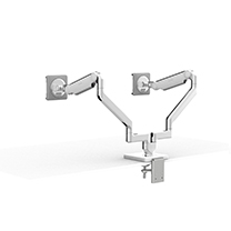 M/Flex With M2.1 Monitor Arms (2), Dual Two-Piece Clamp Mount Base, Polished Aluminum with White Trim