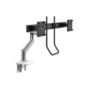 M8.1  Monitor Arm with Crossbar and Handle, Two-Piece Clamp Mount Base, Polished Aluminum with White Trim