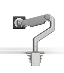 M8.1 Monitor Arm with Two-Piece Clamp Mount Base, Silver with Gray  Trim