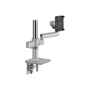 M/Flex with M2.1 Monitor Arm, Dual Arm Bracket, Two-Piece Clamp Mount,  Silver with Gray Trim