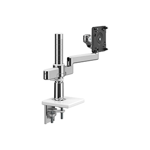 M/Flex with M2.1 Monitor Arm, Dual Arm Bracket, Two-Piece Clamp Mount,  Polished Aluminum with White Trim