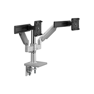 M/Flex with M2.1 Monitor Arms and Slider (2), Dual Arm Bracket, Two-Piece Clamp Mount, Silver with Gray Trim