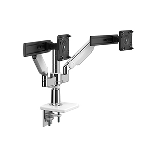 M/Flex with M2.1 Monitor Arms and Slider (2), Dual Arm Bracket, Two-Piece Clamp Mount, Polished Aluminum with White Trim