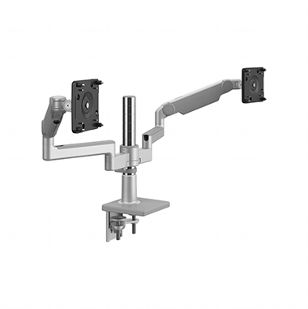 M/Flex with M2.1 Monitor Arms (2), Dual Arm Bracket, Two-Piece Clamp Mount,  Silver with Gray Trim