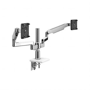 M/Flex with M2.1 Monitor Arms (2), Dual Arm Bracket, Two-Piece Clamp Mount,  Polished Aluminum with White Trim