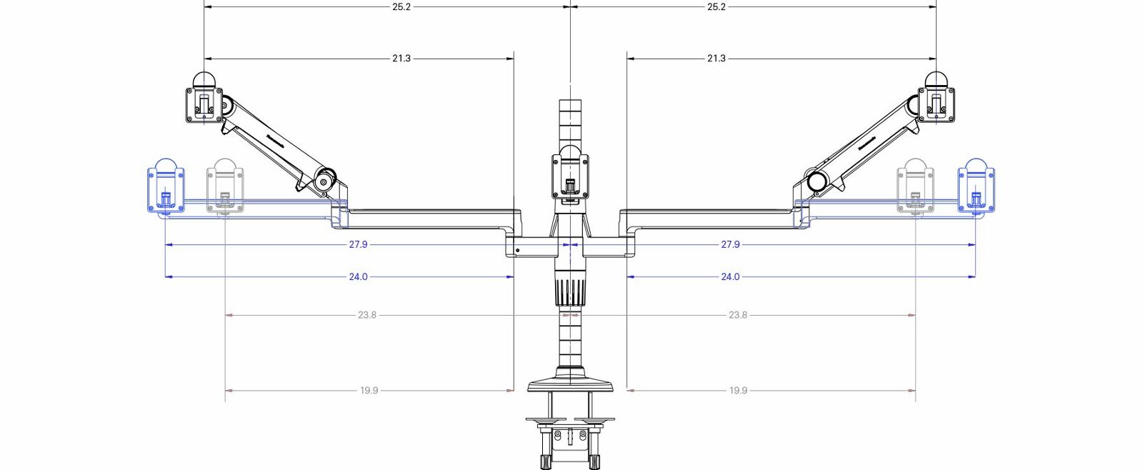 M Flex Humanscales Multi Monitor Arm Support System Wiring Diagram Grommet Key Tech Specs