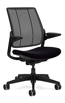 Diffrient Smart Chair, Monofilament Stripe Black Back, Vellum Black Seat