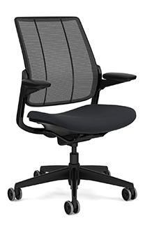 Diffrient Smart Chair with Monofilament Stripe Black Backrest and Vellum Graphite Seat