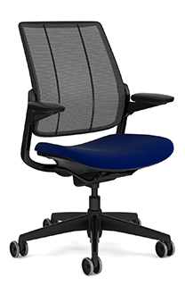 Diffrient Smart Chair, Monofilament Stripe Black Back, Vellum Navy Seat