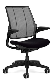 Diffrient Smart Chair with Monofilament Stripe Carbon Backrest and Vellum Black Seat