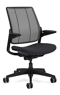 Diffrient Smart Chair, Monofilament Stripe Carbon Backrest, Vellum Graphite Seat