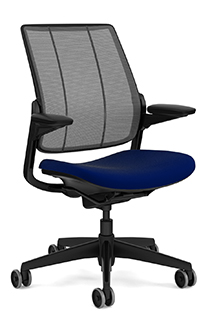 Diffrient Smart Chair, Monofilament Stripe Carbon Backrest, Vellum Navy Seat