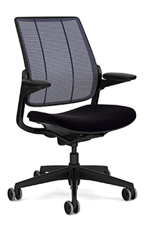 Diffrient Smart Chair with Monofilament Stripe Atlantic Backrest and Vellum Black Seat