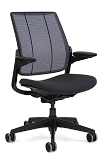 Diffrient Smart Chair with Monofilament Stripe Atlantic Backrest and Vellum Graphite Seat