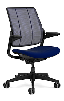 Diffrient Smart Chair, Monofilament Stripe Atlantic Back, Vellum Navy  Seat