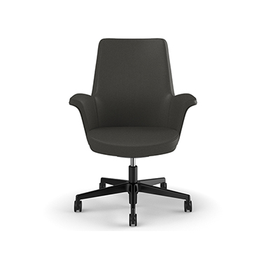 Summa Chair with Upholstered Leather Back in Charcoal - Ticino (Chrome-Free Leather) Picture 2