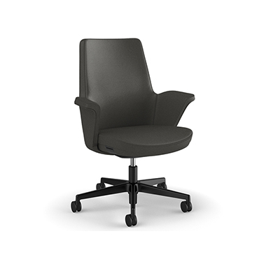 Summa Chair with Upholstered Leather Back in Charcoal - Ticino (Chrome-Free Leather)