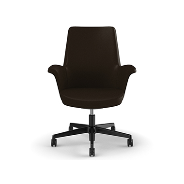 Summa Chair with Upholstered Leather Back in Umber - Ticino (Chrome-Free Leather) Picture 2