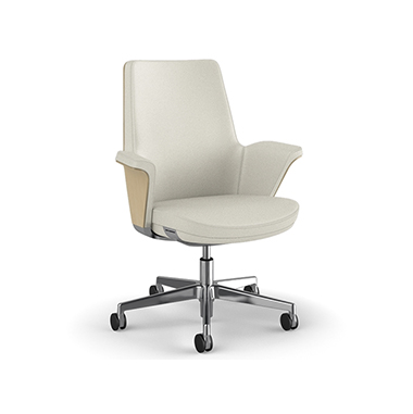 Summa Chair with Anegre Wood Back and Glacier - Ticino (Chrome-Free Leather)