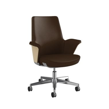 Summa Chair with Anegre Wood Back and Canyon - Ticino (Chrome-Free Leather)