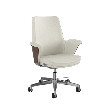 Summa Chair with Walnut Wood Back and Glacier - Ticino (Chrome-Free Leather)