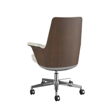 Summa Chair with Walnut Wood Back and Glacier - Ticino (Chrome-Free Leather) Picture 3