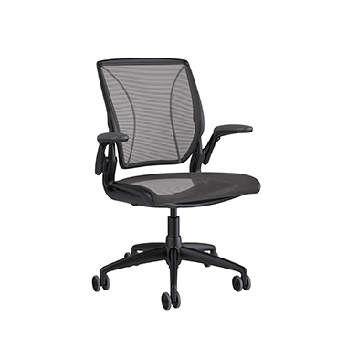 Diffrient World Chair, Pinstripe Back, Pinstripe Seat Black