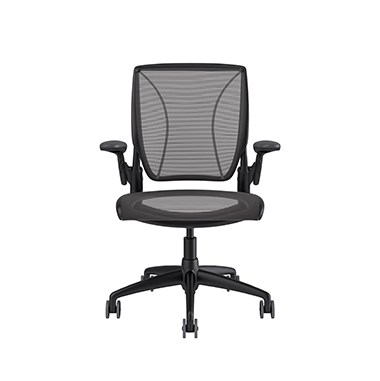 Diffrient World Chair, Pinstripe Back, Pinstripe Seat Black Picture 2
